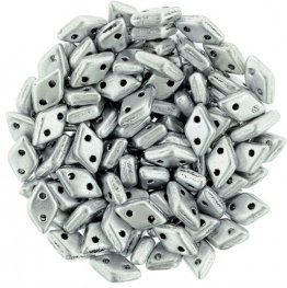 Glass Beads - Czechmates - 2-Hole Diamonds - Matte Metallic Silver