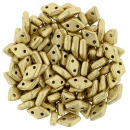 Glass Beads - Czechmates - 2-Hole Diamonds - Matte Metallic Flax