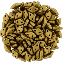 Glass Beads - Czechmates - 2-Hole Diamonds - Matte Metallic Goldenrod