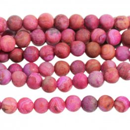 Stone Beads - 4mm Round - Matte Pink Crazy Lace Agate (strand)