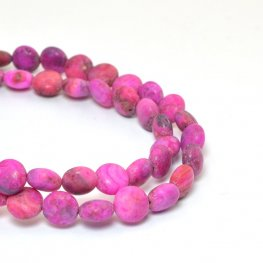 Stone Beads - 8mm Coin - Matte Pink Crazy Lace Agate (strand)