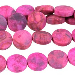 Stone Beads - 12mm Coin - Matte Pink Crazy Lace Agate (strand)