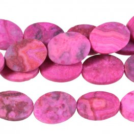 Stone Beads - 10x14mm Oval - Matte Pink Crazy Lace Agate (strand)