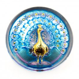 Czech Glass Button - 33mm Magnificent Peacock - Absolutely Aqua