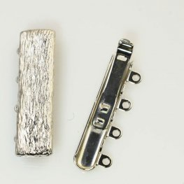 Box Clasp Wood Texture 4-Strand - Bright Silver