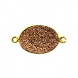 Link - Medium Oval - Metallic Copper Druzy - Gold Plated