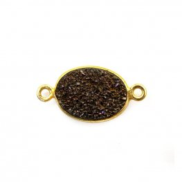 Link - Small Oval - Dark Grey Druzy - Gold Plated