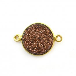Link - Small Circle - Metallic Copper Druzy - Gold Plated