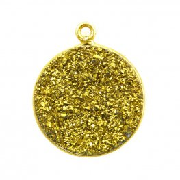 Pendant - Large Circle - Metallic Gold Druzy