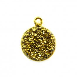 Pendant - Medium Circle - Metallic Gold Druzy