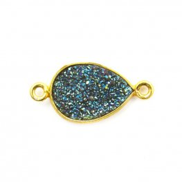 Link - Small Pear - Iridescent Blue Green Druzy - Gold Plated