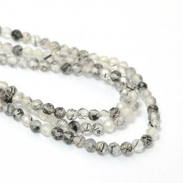 Stone Beads - 2mm Faceted Rounds - Rutilated Quartz (strand)
