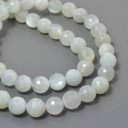Stone Beads - 8mm Faceted Rounds - Moonstone (strand)