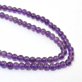 Stone Beads - 3mm Rounds - Amethyst (strand)