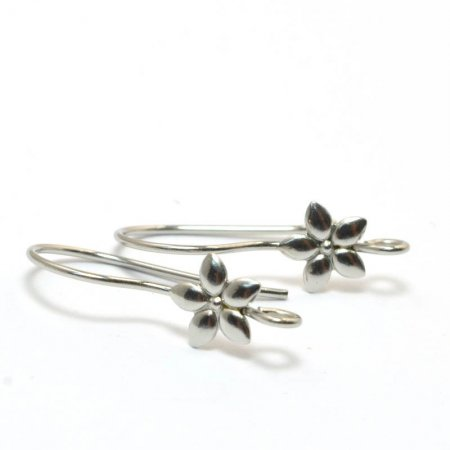 Earring - Earwire with Flower - Stainless Steel (10)