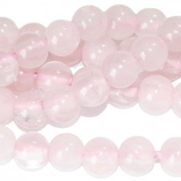 Stone Beads - 8mm Big Hole Round - Rose Quartz (strand)