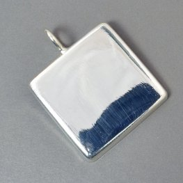 Resin Bezel Tray - 34mm Square Pendant - Bright Silver
