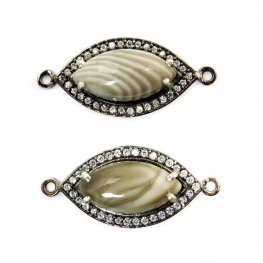Stone Pendant - Limited Edition - Pointed Oval Link - Polish Flint - Gunmetal