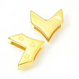 Beads - 10mm Flat Leather - Reversible Chevron Slider - Bright Gold Plated