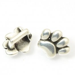 Beads - 5mm Flat Leather - Flat Paw Slider - Antiqued Silver