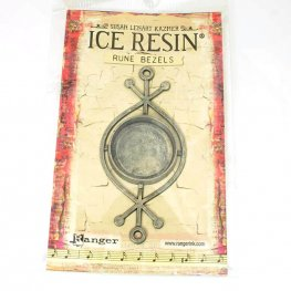 Resin Bezel Tray - Rune Style - Round - Antiqued Silver