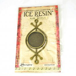 Resin Bezel Tray - Rune Style - Round - Antiqued Brass