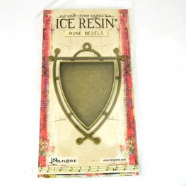Resin Bezel Tray - Runy Style - Shield - Antiqued Brass