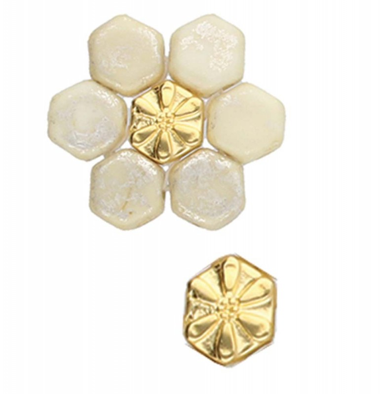 Cymbal Metal Bead - Stelida - Honeycomb Bead Substitute - Gold Plated (5)