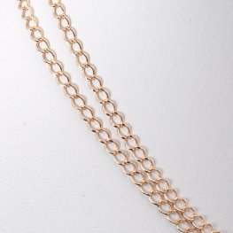 Chain - 3x4mm Flat Oval Curb - Rose Gold (foot)