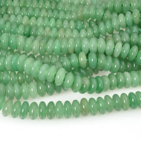 Stone Beads - 10mm Big Hole Rondelle Donut - Green Aventurine (strand)