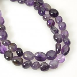 Stone Beads - 8x10mm Pebble - Amethyst (strand)