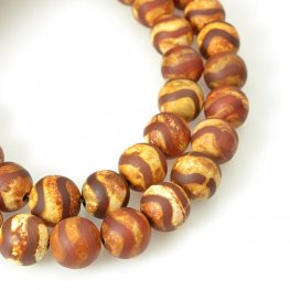 Stone Beads - 12mm Round - Matte Dzi Agate Red Wave (strand)