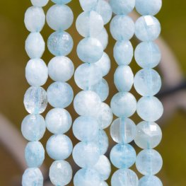 Stone Beads - 4mm Diamond Cut Faceted Coin - Aquamarine (strand)