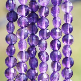 Stone Beads - 4mm Diamond Cut Faceted Coin - Amethyst (strand)