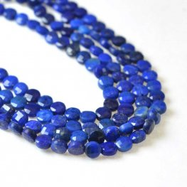 Stone Beads - 4mm Diamond Cut Faceted Coin - Lapis Lazuli (strand)