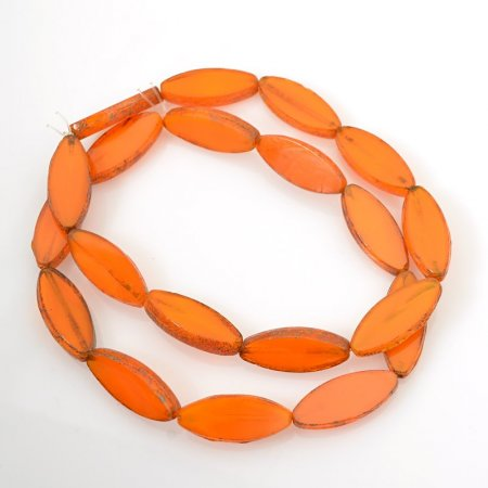 Glass Beads - 8x20mm Flat Pointed Oval - Tangerine Picasso (10)