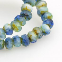 Czech Firepolish Glass - 5x3mm Faceted Donut Rondelle - Storm Serge (Strand 30)
