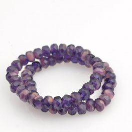 Czech Firepolish Glass - 5x3mm Faceted Donut Rondelle - Eggplant and Roses (Strand 30)