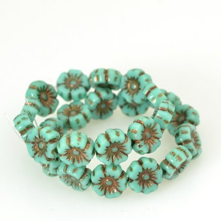 Czech Glass - 7mm Hibiscus Flower - Turquoise Bronze (12)