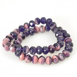 Czech Firepolish Glass - 7x5mm Faceted Donut Rondelle - Eggplant and Roses (strand 25)
