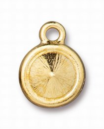 Finding - Pendant / Charm - ss39 Plain Bezel Chaton Mount - Bright Gold