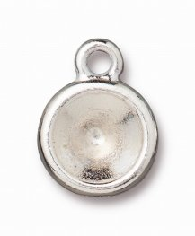 Finding - Pendant / Charm - ss39 Plain Bezel Chaton Mount - Bright Rhodium