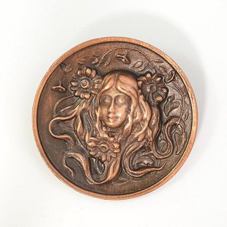 Metal Pendant - Lady with Daisies - Antiqued Copper