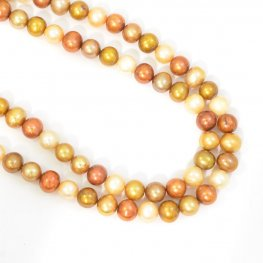 Freshwater Pearls - 7.5mm Near Round Pearl - Metallic Mix (strand)
