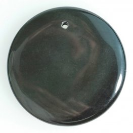 Stone - 45mm Coin Disk Pendant - Obsidian