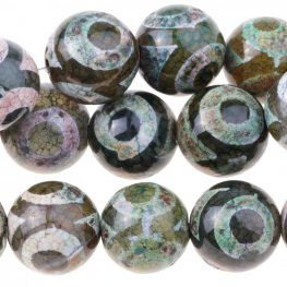 Stone Beads - 12mm Round - Dzi Agate Green White Eye (strand)
