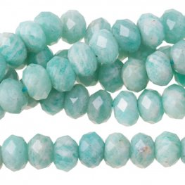 Stone Beads - 8mm Big Hole Diamond Cut Faceted Rondelle Donut - Amazonite (strand)