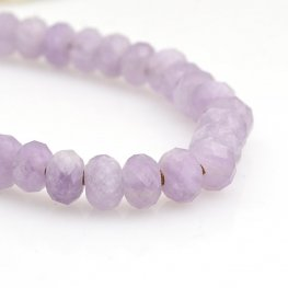 Stone Beads - 8mm Big Hole Diamond Cut Faceted Rondelle Donut - Lavender Amethyst (strand)