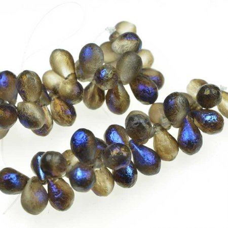 Glass Beads - 6x9mm Pear Drops - Scarabee Etch (25)