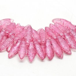 Glass Beads - 5x16mm 2 Hole Dagger Beads - Etched Rose (25)